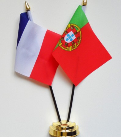 Polyester national table Flags With Pole And Base